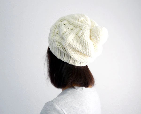 Popcorn Cable PomPom Slouch Snow / Ski Hat in Soft Cream Merino. Off White Ivory. Back to School / Fall / Winter Fashion - tortillagirl