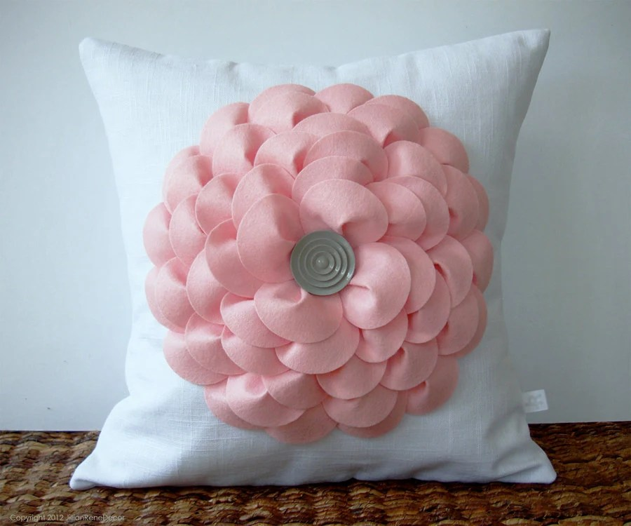 Large Pastel Pink Flower Pillow in White Linen with Gray Button Center by JillianReneDecor Nursery Decor Gift for Her Floral Spring Pastel - JillianReneDecor
