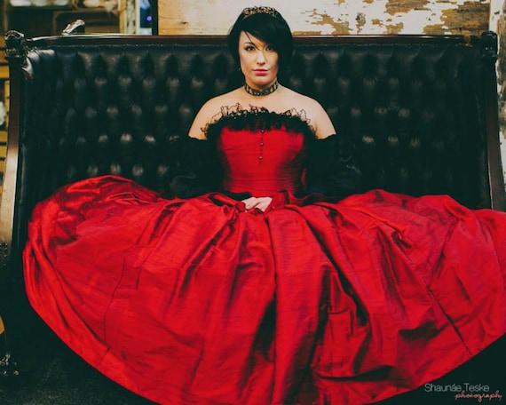Items Similar To Red BallGown Wedding Dress