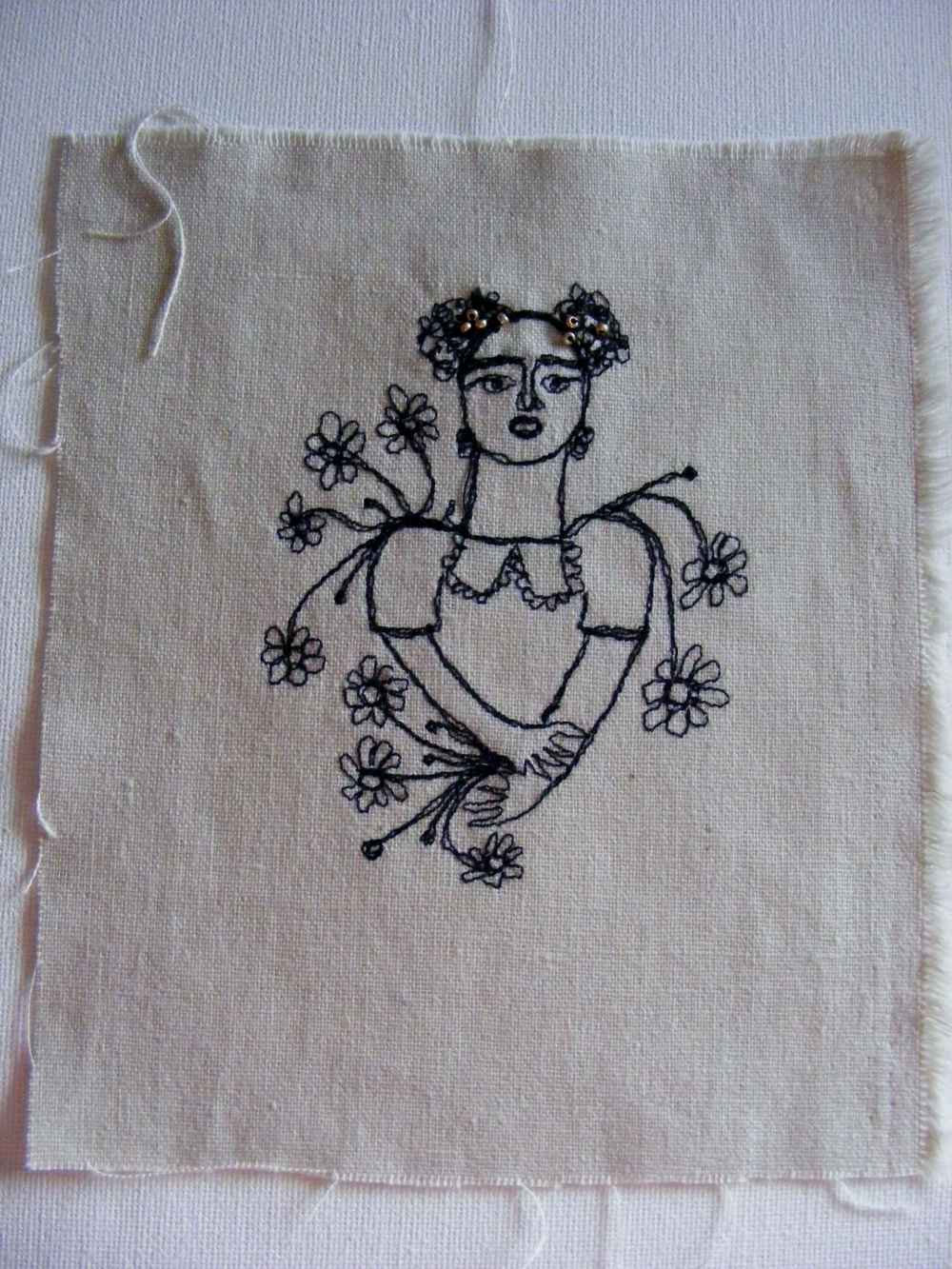 Miss Freda - original embroidery portrait