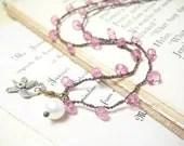 Pink necklace handmade crocheted sterling silver flower charm - pamelasjewelry