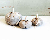 large white fabric pumpkin - autumn home decor - halloween thanksgiving fall - birdsnestlovefern