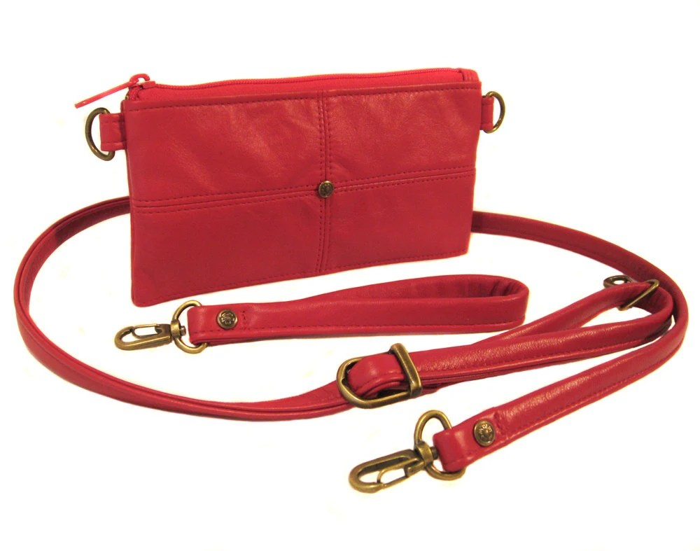 Red Leather Wallet with Removable Straps - ANNIE - MauttoHandbags