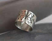 Snowflake ring, rustic silver ring, wide band ring, metalwork winter jewelry - Mirma