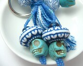 Blue Sugar Skulls Beaded Tassel Keyring