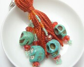 Southwest Sugar Skulls Beaded Tassel Keyring