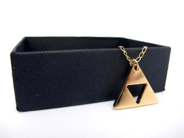 Zelda Triforce GOLD plated Necklace with Gold Filled chain