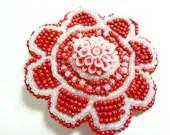 White and Red Beaded Flower Alligator Hair Clip - MegansBeadedDesigns