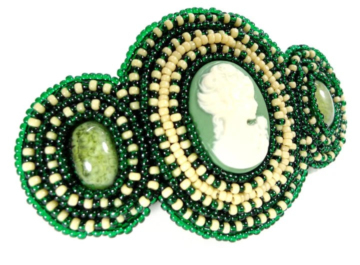Cream and Emerald Green Cameo Beaded Barrette Hair Accessory - MegansBeadedDesigns