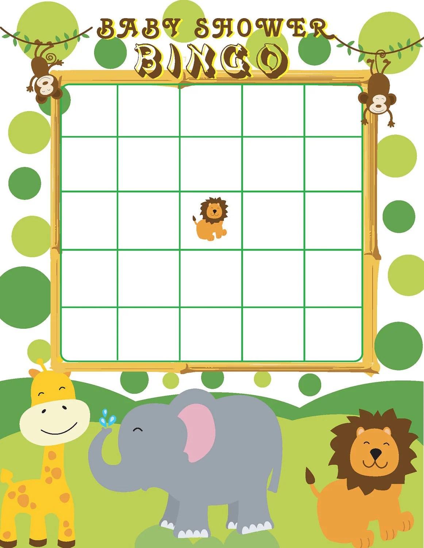 Printable Jungle Themed Baby Shower Bingo By Jennya309 On Etsy