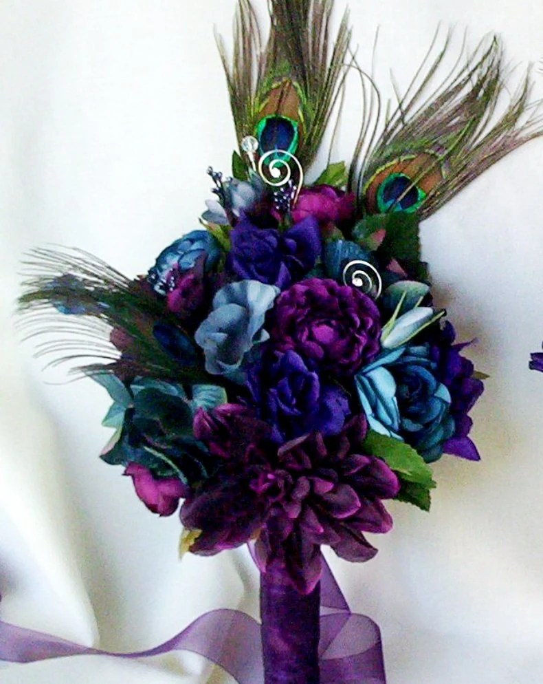 Wedding Accessories Peacock Bridal Bouquets Plum PurpleTeal