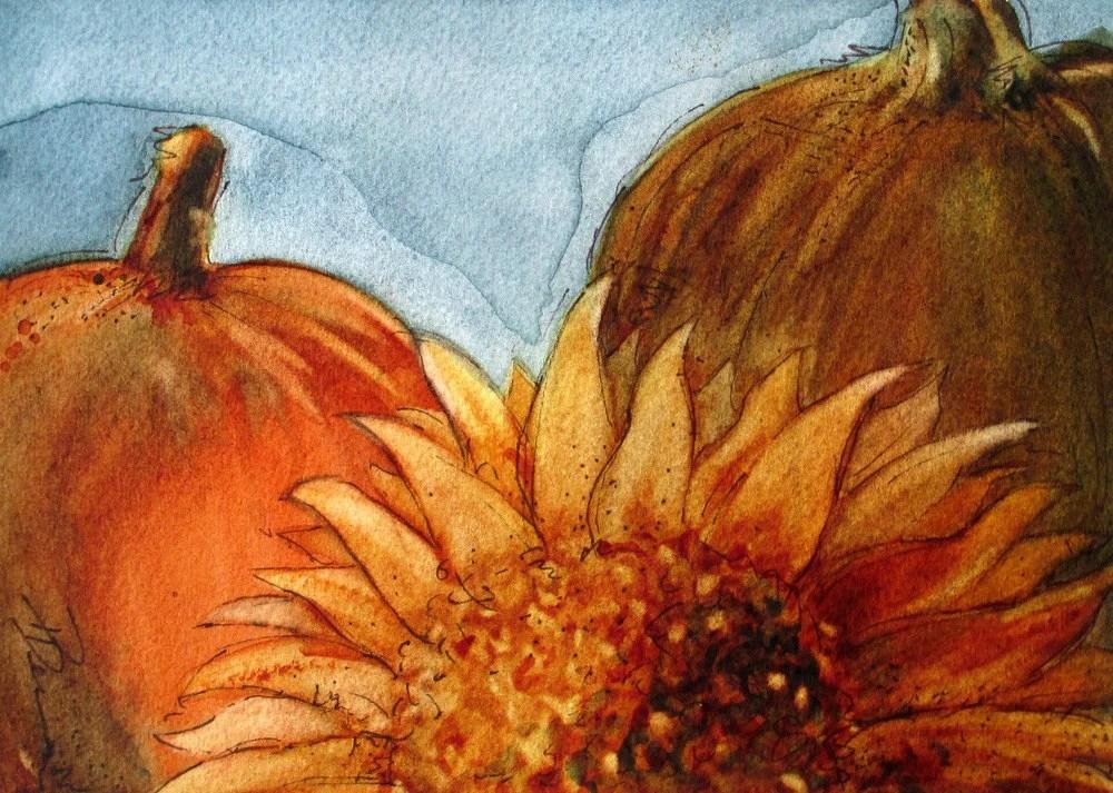 Painting Traceable Sunflowers Pumpkins