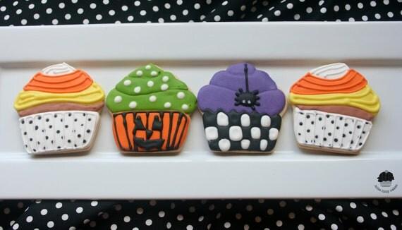 Halloween Cupcake Sugar Cookies - 1 DOZEN - misslizzycakes