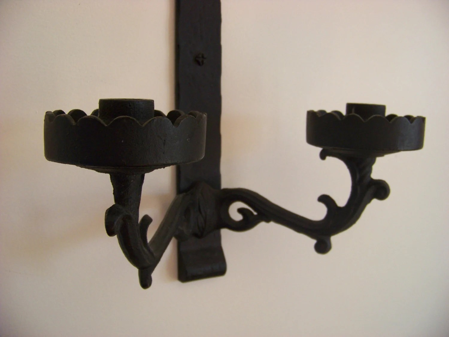Black Wrought Iron Candle Holder / Wall Hanging by DoesMeadow on Black Wrought Iron Wall Candle Holders id=20593