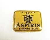 Vintage Aspirin Tin - Drake Remedy Co. Kingston NY - Yellow and Black Medicine Tin - 1920s - TinsStore