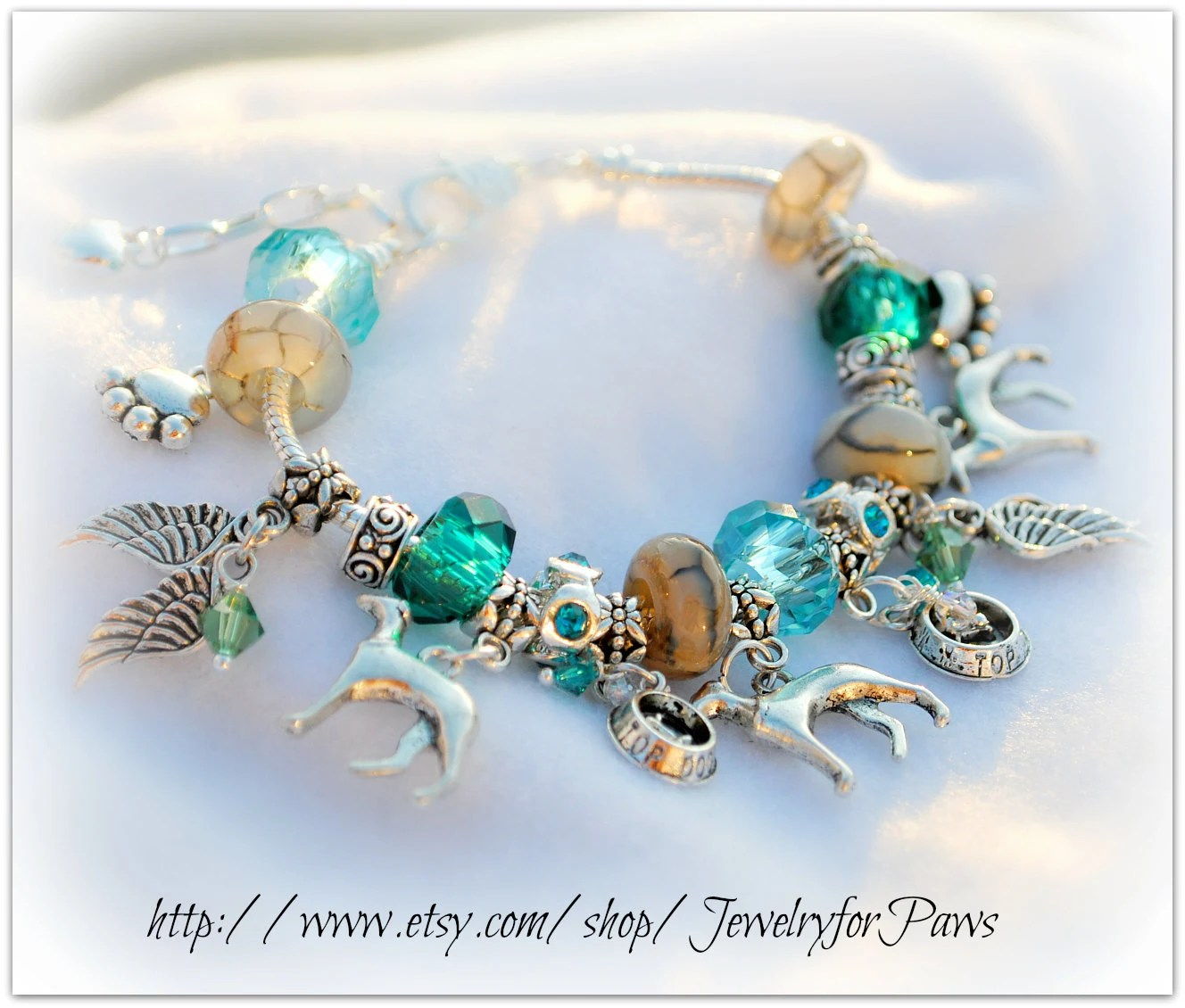 Custom Pick a Breed  Bracelet - Dragon Veins Agate Gemstone - Angel Wings - Forget Me Not