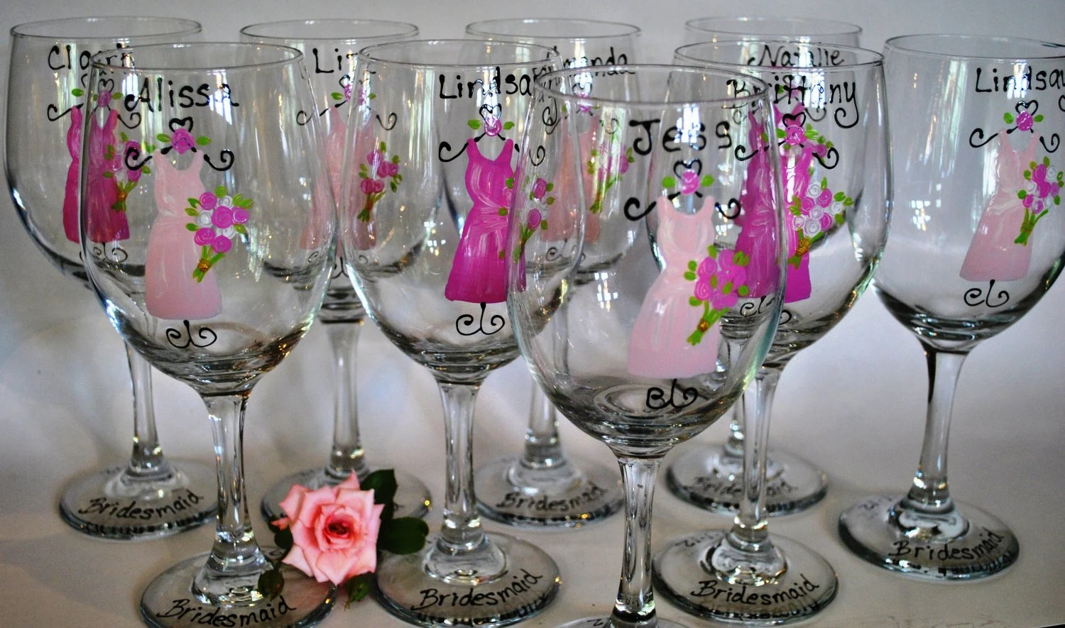 Hand Painted Bridal Party Wedding Wine Glasses Wine Glass