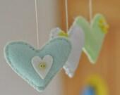 Baby mobile, green, white and mint hearts - GetaHandmadeGift