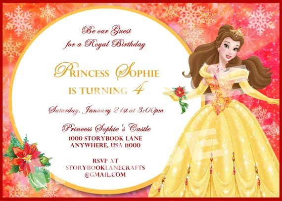 Items Similar To Beauty And The Beast Invitation Belle