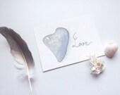 Heart stone - Original watercolor ACEO painting - Art card - Valentine's day - Neutral paloma gray - Heart pebble, Beach love, I love you - SandraOvono