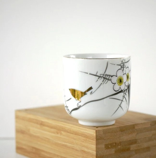Vintage Teacup Japanese Plum Blossom Golden Bird YY Made in Japan - TheOtherLifeVintage