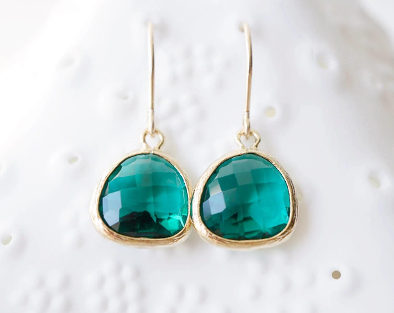 Emerald Glass & 14k Gold Filled Dangle Earrings