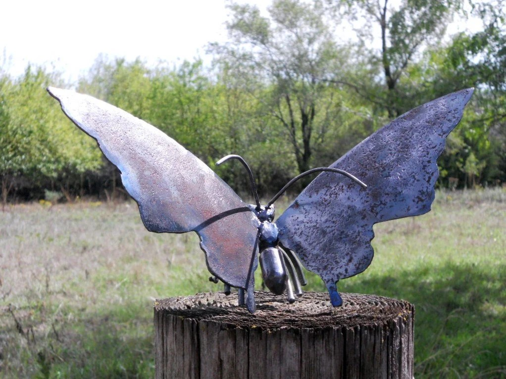 Butterfly Metal Sculpture Welded Metal Art Yard Art Garden Art on Backyard Metal Art id=48597