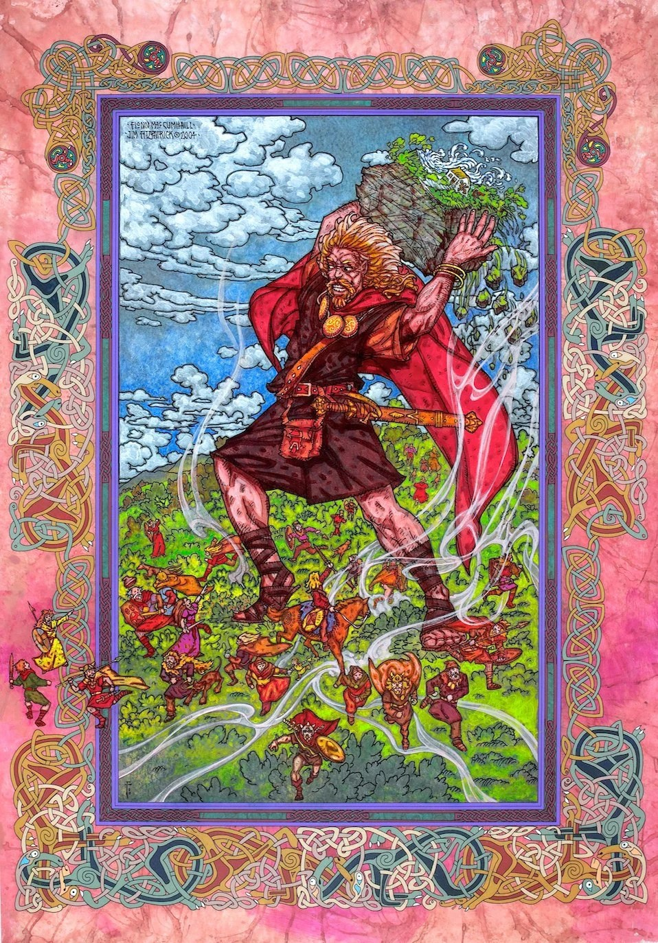 Celtic Art Print Fionn Mac Cumhaill (Finn MacCool) Signed and numbered Limited Edition Print 33x23. Irish Art, Celtic, Legend, Mythology.
