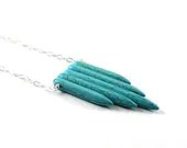 Turquoise necklace: sterling silver spike necklace tribal ethnic inspired by Native American necklace blue - NatureLook