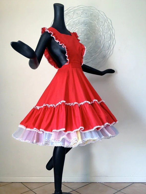 Christmas Red Apron Dress Square Dance Dancing Dress Outfit