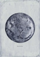 Map of the Moon  Print Recovered Vintage Image  to Frame - TheCuratorsPrints