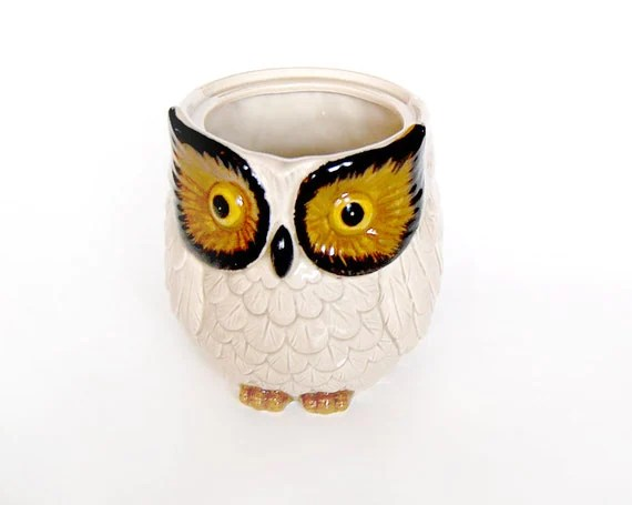 Owl Decor / Owl Kitchen / Owl Crock / Owl Cup / 80s - MinxouriVintage
