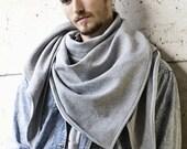 XL TRIANGLE SCARF grey mottled for men warm casual streetwear accessoiry - ElizaSchwarzBerlin