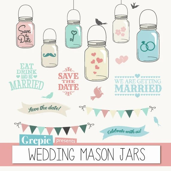 Mason Jars Wedding Clipart WEDDING MASON JARS Save The Date Clip Art With Bunting Banners Birds Hearts For Cards Invites