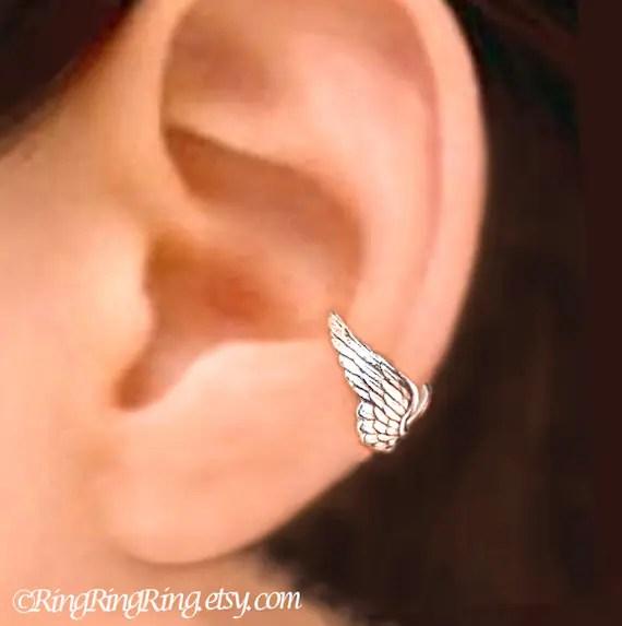 Tiny Angel Wing Ear Cuff Sterling Silver Earrings Wing Jewelry