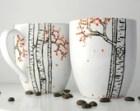 Autumn Aspen Forest - 2 Large Personalized Mugs - Hand Painted Mug, Custom Mug, Fall Coffee Mug