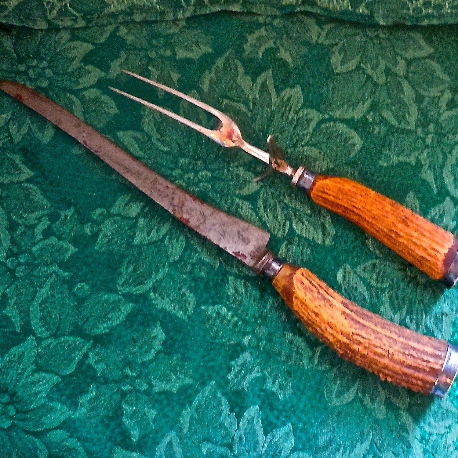 Turkey Carving Knife: Antique Stag Horn And Sterling Silver Carving Knife And