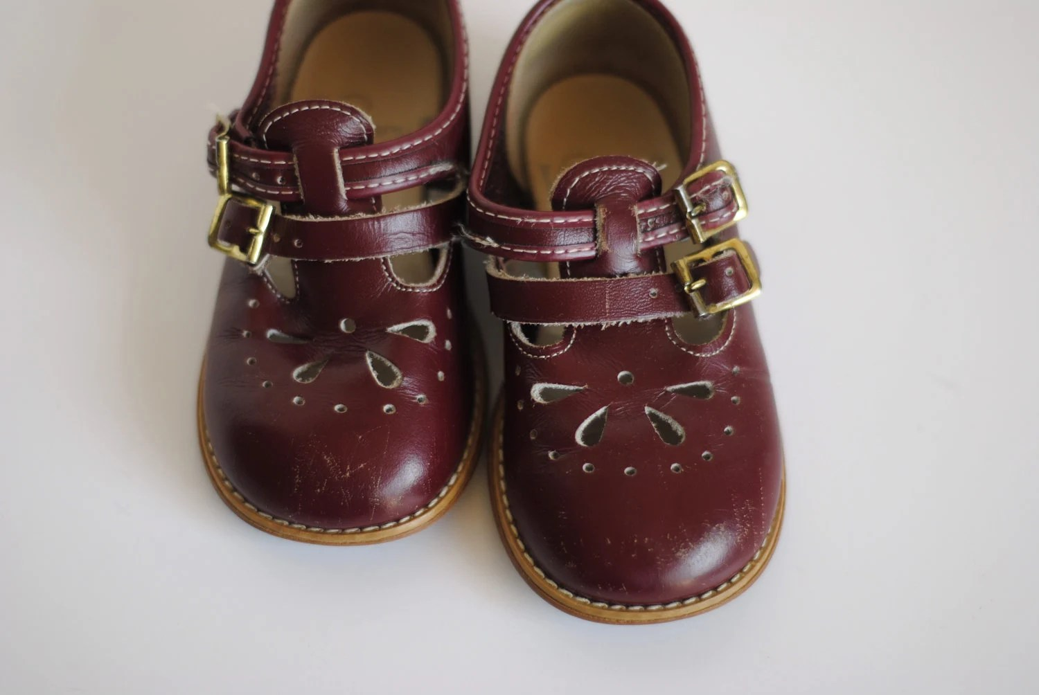 Vintage Toddler Girl T Strap Shoes Maroon Cut Outs