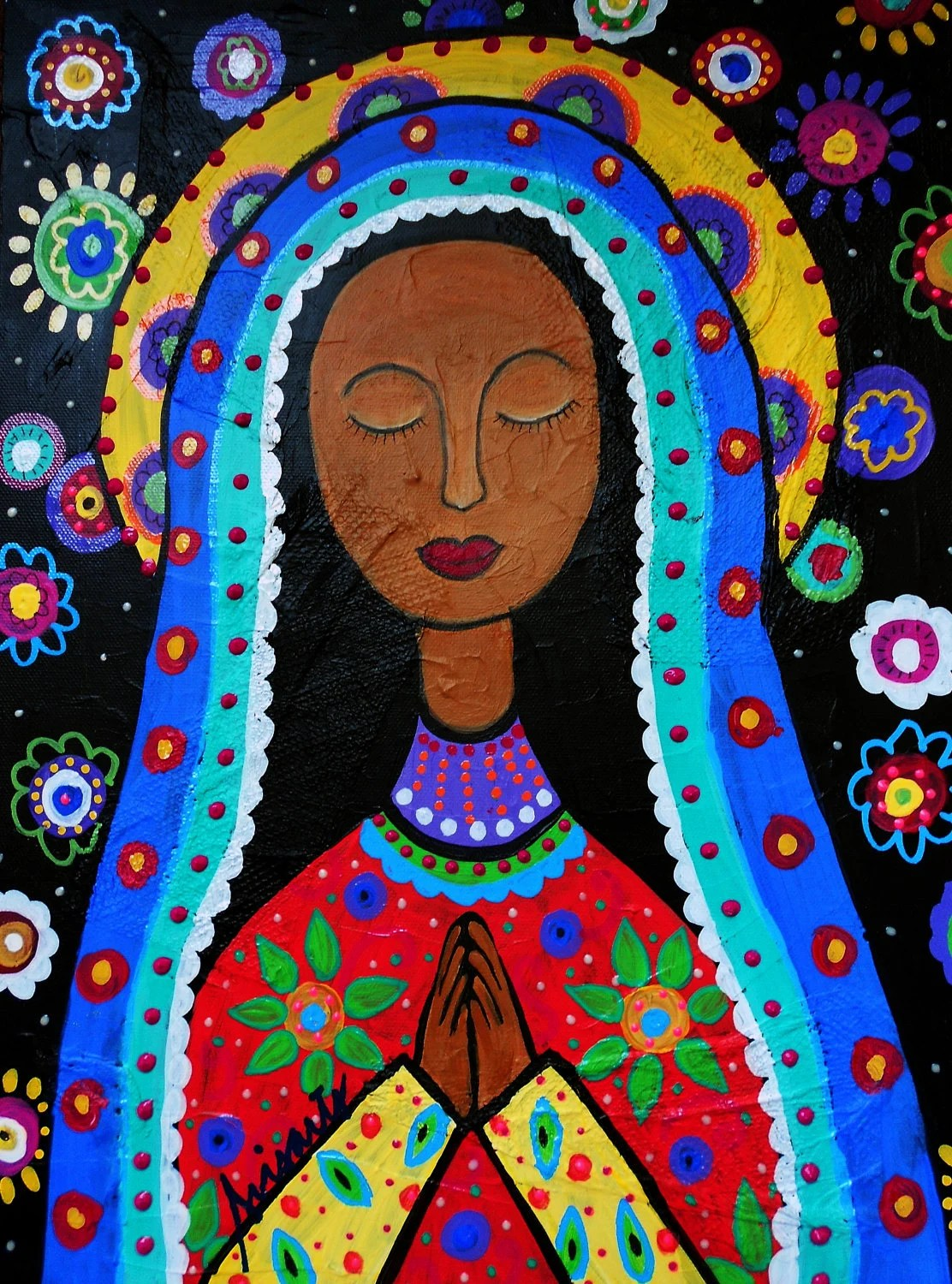 Mexican Folk Art Our Lady Of Virgin Guadalupe Painting Print