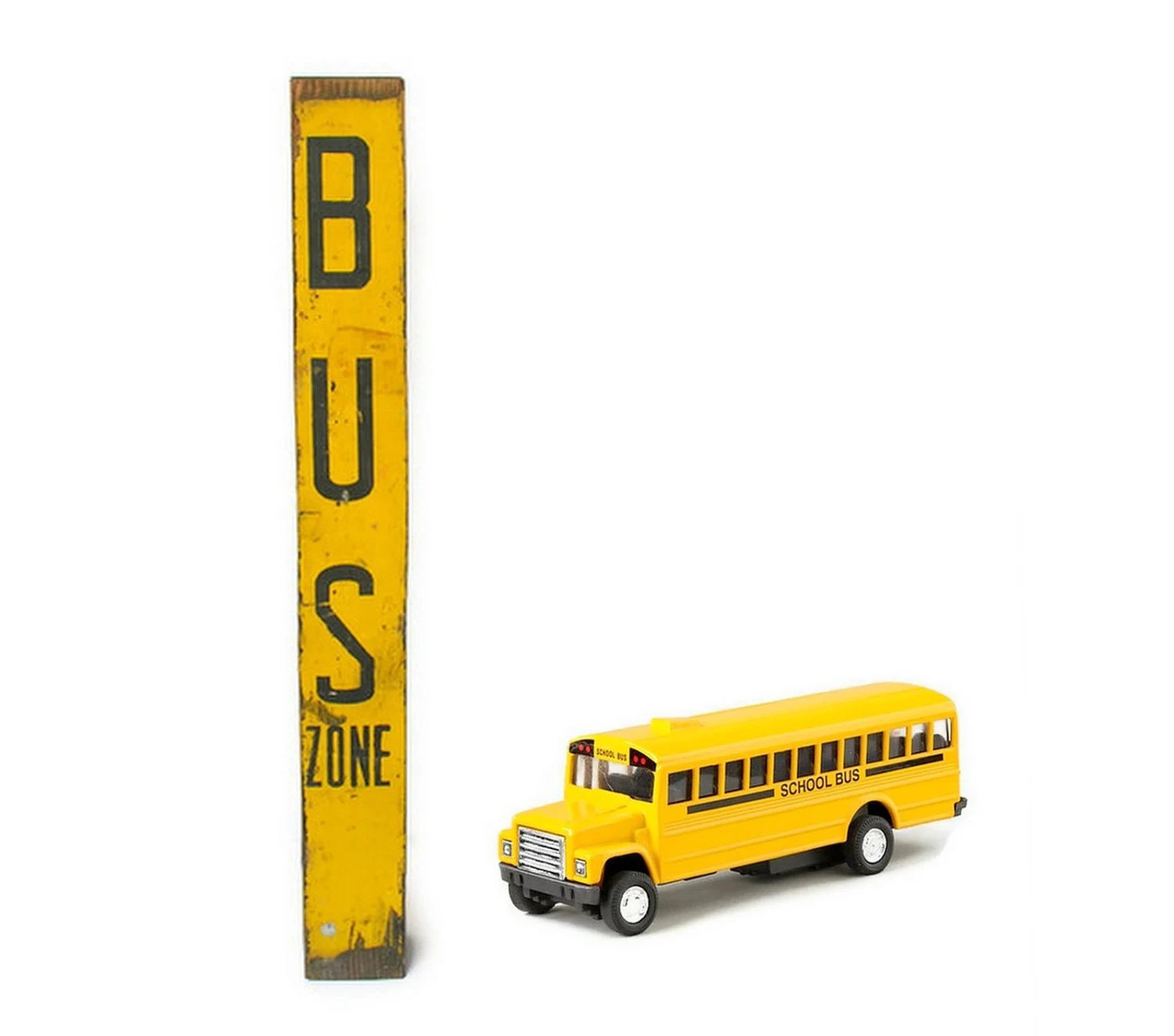Vintage Sign School Bus Zone Yellow Black Distressed Handpainted Wood Post - veraviola