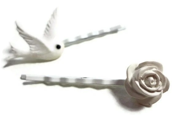 Rose and Bird Bobby Pins - Glamour365