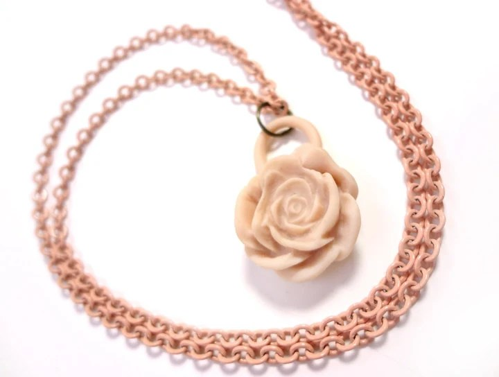 Peach Polymer Clay Rose Necklace - Glamour365
