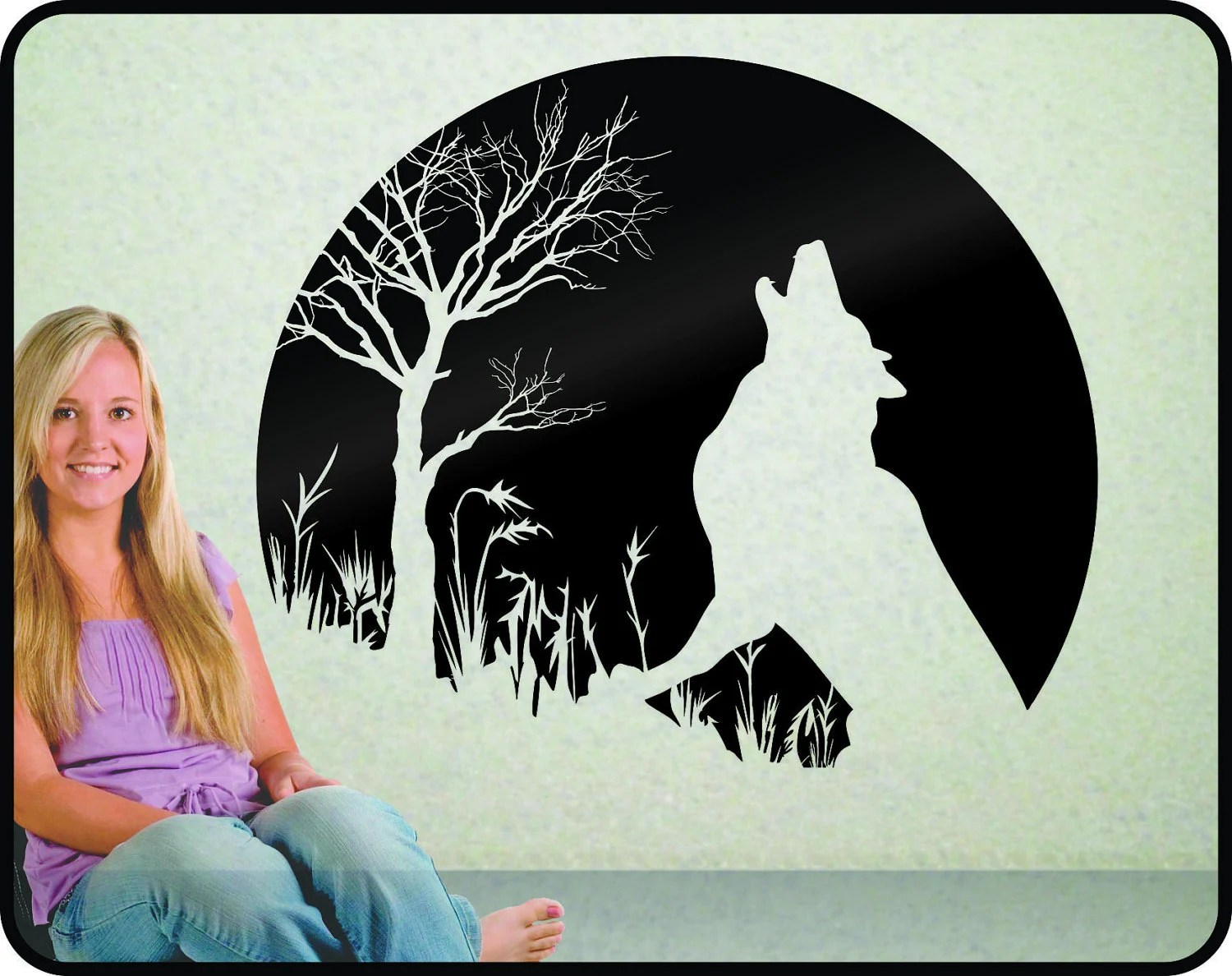Howling Wolf And Moon Wall Decal Striking And Elegant Vinyl