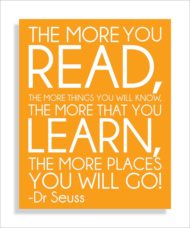Dr Seuss Quote Read Modern Art Print Typography Nursery
