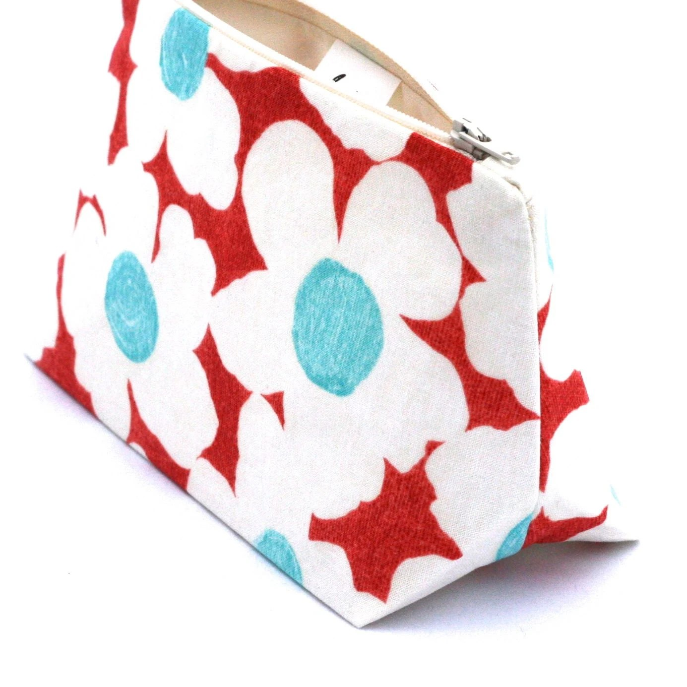 Christmas Gift Aqua & Red Retro Floral Makeup Bag/Cosmetic Bag - Stocking Stuffer, Gift for Her , Vintage Bridesmaid Gift, Birthday Gift - JordaniSarreal