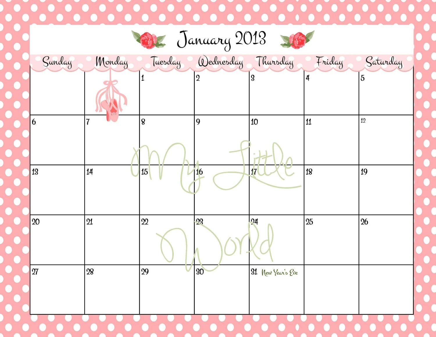 Printable Calendar 12 Month With By Treschicpartydesigns