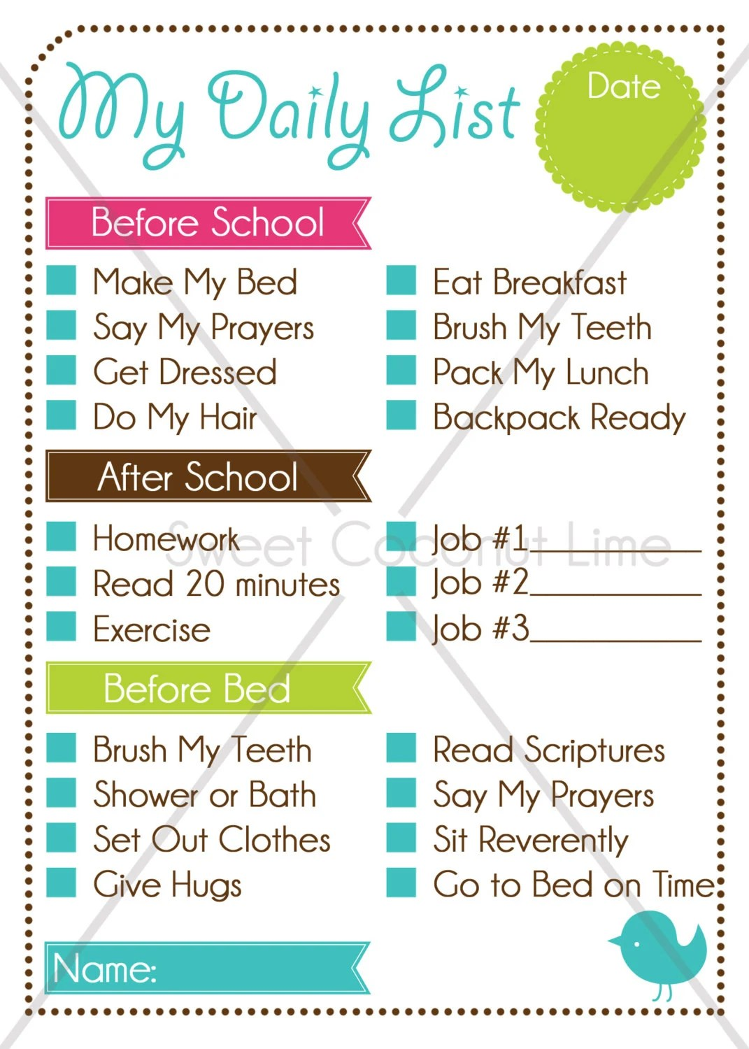 Kid S Editable Daily List And Chore Chart Instant Download