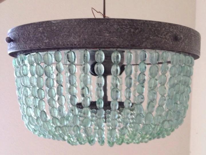 Aqua Turquoise Beaded Lighting Fixture Chandelier