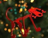 Red Puppy Dog Christmas Tree Ornament Bone Dog - EarthStudioMetalArt