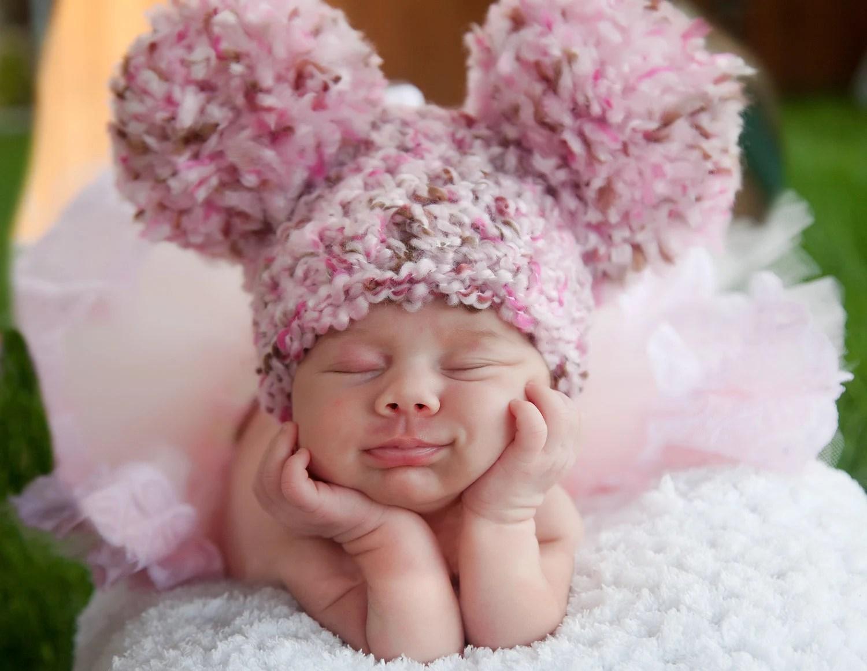 pink baby hat newborn baby girl hat newborn baby hat pink and
